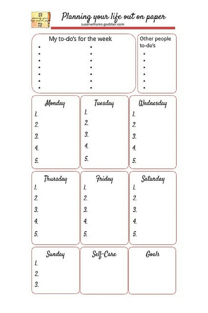 Personal Size Weekly To-do List